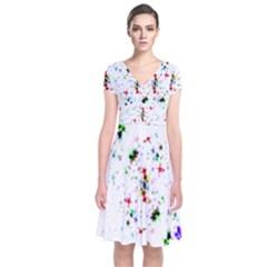 Star Structure Many Repetition Short Sleeve Front Wrap Dress