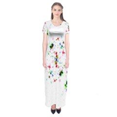Star Structure Many Repetition Short Sleeve Maxi Dress
