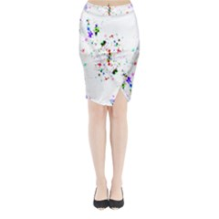 Star Structure Many Repetition Midi Wrap Pencil Skirt