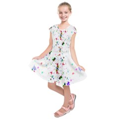 Star Structure Many Repetition Kids  Short Sleeve Dress