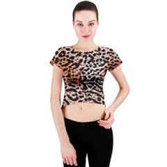 Tiger Motif Animal Crew Neck Crop Top
