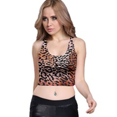 Tiger Motif Animal Racer Back Crop Top