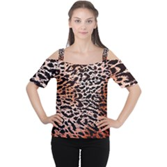 Tiger Motif Animal Women s Cutout Shoulder Tee