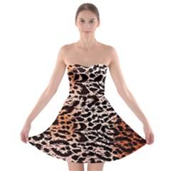 Tiger Motif Animal Strapless Bra Top Dress