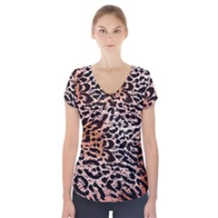 Tiger Motif Animal Short Sleeve Front Detail Top