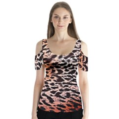 Tiger Motif Animal Butterfly Sleeve Cutout Tee