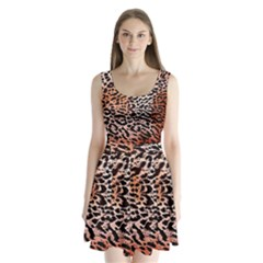 Tiger Motif Animal Split Back Mini Dress