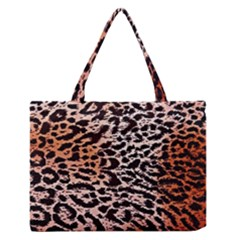 Tiger Motif Animal Medium Zipper Tote Bag