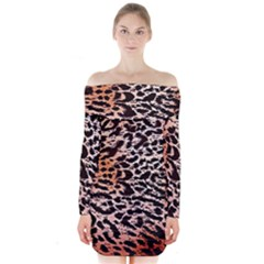 Tiger Motif Animal Long Sleeve Off Shoulder Dress