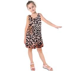Tiger Motif Animal Kids  Sleeveless Dress