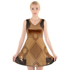 The Elaborate Floor Pattern Of The Sydney Queen Victoria Building V-Neck Sleeveless Skater Dress
