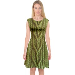 Green Cables Capsleeve Midi Dress