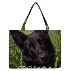 Black German Shepherd Spoiled Rotten Medium Zipper Tote Bag