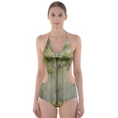 Sunray Forest Cut-Out One Piece Swimsuit
