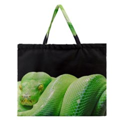 Green Tree Python Zipper Large Tote Bag