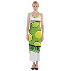 Cartoon Turtle Fitted Maxi Dress