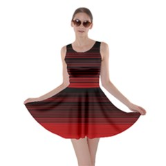 Abstract Of Red Horizontal Lines Skater Dress