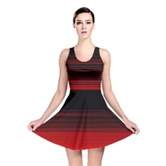 Abstract Of Red Horizontal Lines Reversible Skater Dress