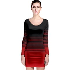 Abstract Of Red Horizontal Lines Long Sleeve Bodycon Dress