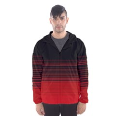 Abstract Of Red Horizontal Lines Hooded Wind Breaker (men)