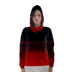 Abstract Of Red Horizontal Lines Hooded Wind Breaker (women)