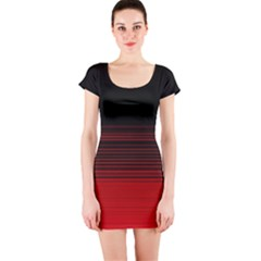 Abstract Of Red Horizontal Lines Short Sleeve Bodycon Dress