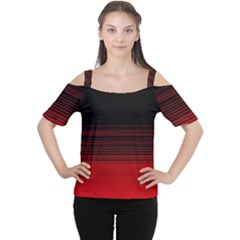 Abstract Of Red Horizontal Lines Women s Cutout Shoulder Tee
