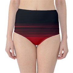 Abstract Of Red Horizontal Lines High Waist Bikini Bottoms