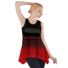 Abstract Of Red Horizontal Lines Side Drop Tank Tunic