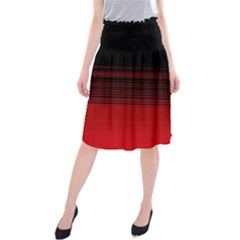 Abstract Of Red Horizontal Lines Midi Beach Skirt