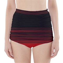 Abstract Of Red Horizontal Lines High Waisted Bikini Bottoms