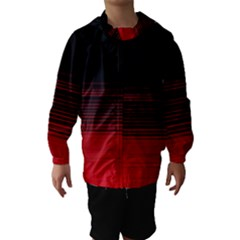 Abstract Of Red Horizontal Lines Hooded Wind Breaker (Kids)