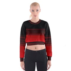 Abstract Of Red Horizontal Lines Women s Cropped Sweatshirt
