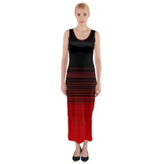 Abstract Of Red Horizontal Lines Fitted Maxi Dress