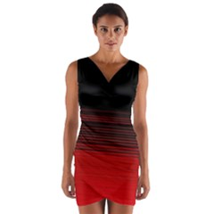 Abstract Of Red Horizontal Lines Wrap Front Bodycon Dress