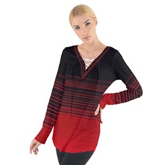 Abstract Of Red Horizontal Lines Women s Tie Up Tee