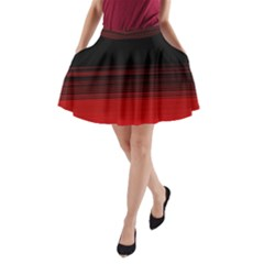Abstract Of Red Horizontal Lines A Line Pocket Skirt