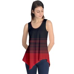 Abstract Of Red Horizontal Lines Sleeveless Tunic
