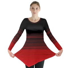 Abstract Of Red Horizontal Lines Long Sleeve Tunic