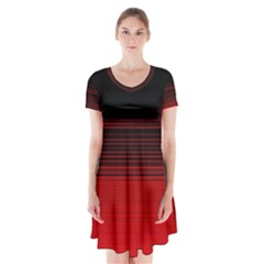 Abstract Of Red Horizontal Lines Short Sleeve V-neck Flare Dress