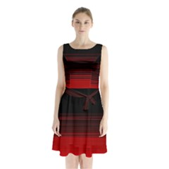 Abstract Of Red Horizontal Lines Sleeveless Chiffon Waist Tie Dress