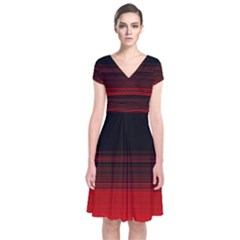 Abstract Of Red Horizontal Lines Short Sleeve Front Wrap Dress