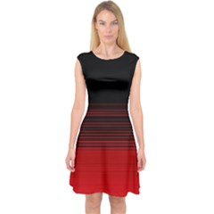 Abstract Of Red Horizontal Lines Capsleeve Midi Dress