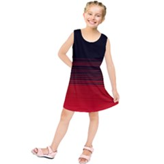 Abstract Of Red Horizontal Lines Kids  Tunic Dress