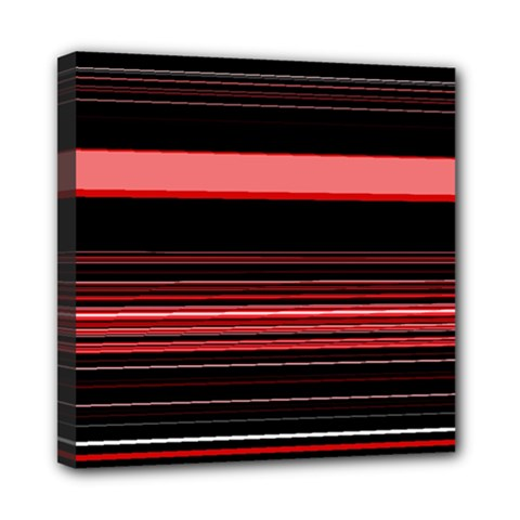 Abstract Of Red Horizontal Lines Mini Canvas 8  X 8