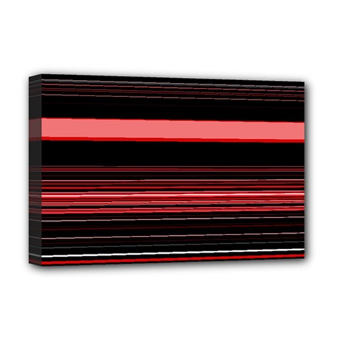 Abstract Of Red Horizontal Lines Deluxe Canvas 18  X 12