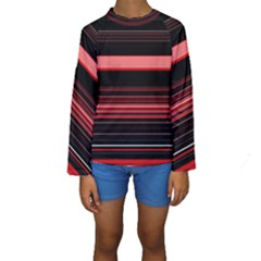 Abstract Of Red Horizontal Lines Kids  Long Sleeve Swimwear