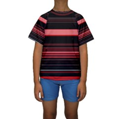 Abstract Of Red Horizontal Lines Kids  Short Sleeve Swimwear