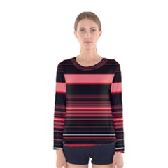Abstract Of Red Horizontal Lines Women s Long Sleeve Tee