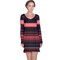 Abstract Of Red Horizontal Lines Long Sleeve Nightdress